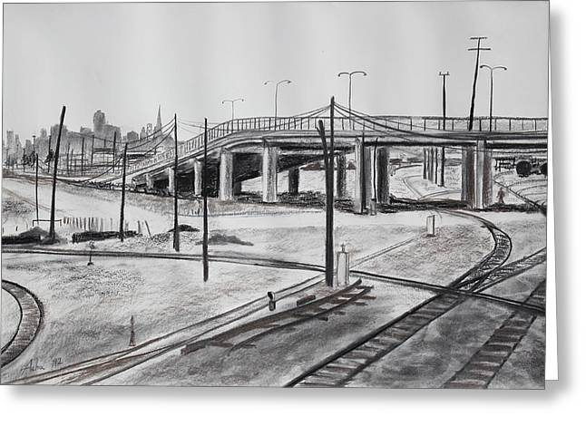 Quiet West Oakland Train Tracks With Overpass And San Francisco  Greeting Card by Asha Carolyn Young