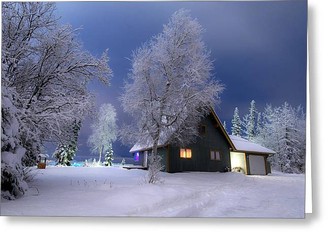 Snowy Night Night Greeting Cards - Quiet Winter Times Greeting Card by Ron Day