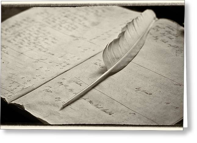 Ledger; Book Photographs Greeting Cards - Quill and ledger book Greeting Card by Richard Nowitz