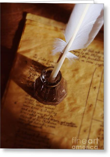 Historical Documents Greeting Cards - Quill in Ink Pot on Parchment Greeting Card by Jill Battaglia