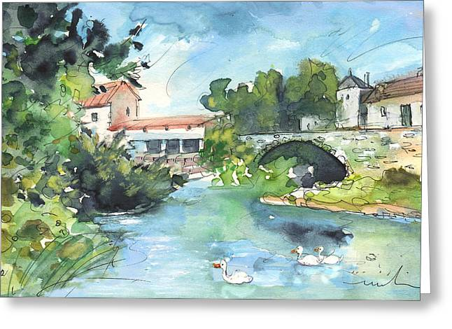 Southern France Drawings Greeting Cards - Quillan 01 Greeting Card by Miki De Goodaboom