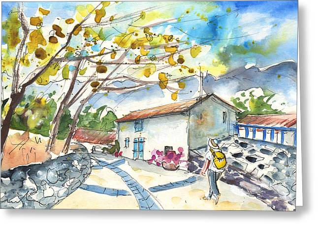 Southern France Drawings Greeting Cards - Quillan 02 Greeting Card by Miki De Goodaboom