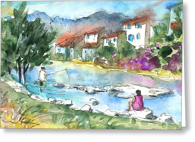Southern France Drawings Greeting Cards - Quillan 03 Greeting Card by Miki De Goodaboom