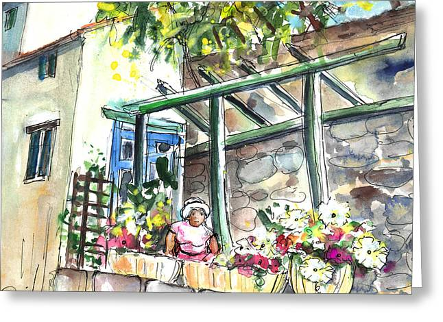 Southern France Drawings Greeting Cards - Quillan 04 Greeting Card by Miki De Goodaboom