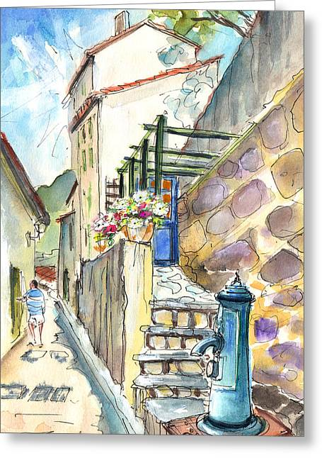 Southern France Drawings Greeting Cards - Quillan 05 Greeting Card by Miki De Goodaboom