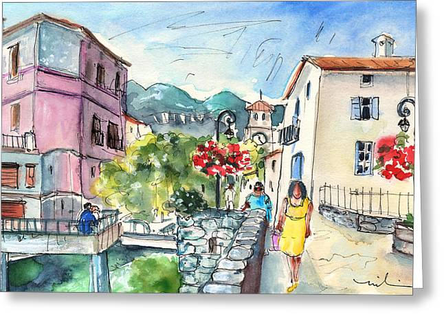 Southern France Drawings Greeting Cards - Quillan 06 Greeting Card by Miki De Goodaboom