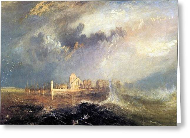 Painter Of Light Greeting Cards - Quillebeuf at the mouth of the Seine 1833 Greeting Card by J M W Turner