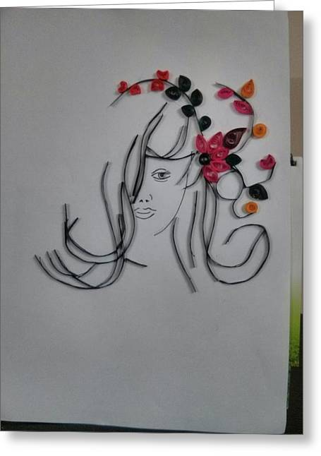 Quilling Greeting Cards - Quilled face Greeting Card by Sheeba Sudeep