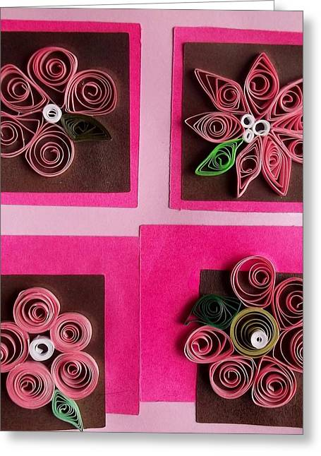 Pink Reliefs Greeting Cards - Quilled spring flowers Greeting Card by Joan Mace