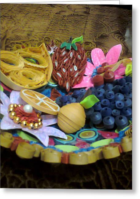 Quilling Greeting Cards - Quilling Craftwork - Fruit Bowl Greeting Card by Deepshikha Dey
