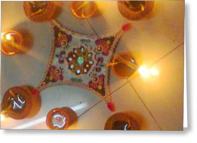 Quilling Greeting Cards - Quilling Craftwork of Rangoli for Sale Greeting Card by Deepshikha Dey