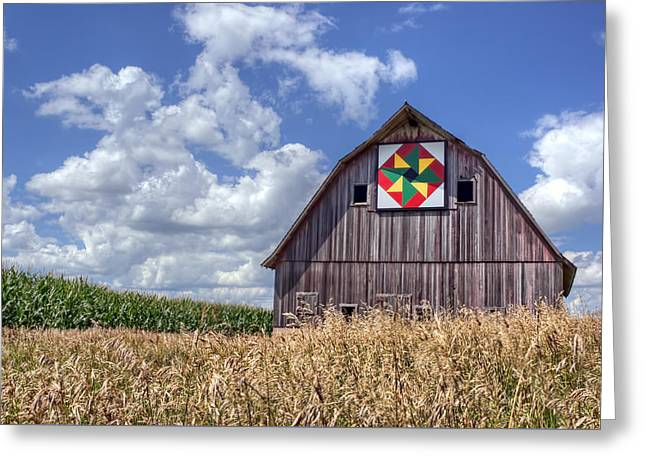 Quilt Barn - Double Windmill Greeting Card by Nikolyn McDonald