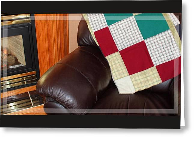 Quilt Beside A Fireplace Greeting Card by Barbara Griffin