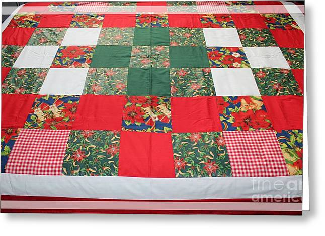 Crafty Quilts Greeting Cards - Quilt Christmas Blocks Greeting Card by Barbara Griffin
