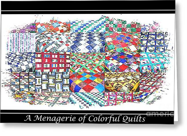 Patch Work Greeting Cards - Quilt Collage Illustration Greeting Card by Barbara Griffin