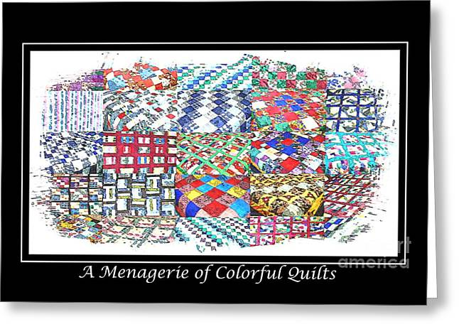Sewing Tapestries - Textiles Greeting Cards - Quilt Collage Illustration Greeting Card by Barbara Griffin