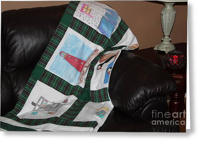 Crafty Quilts Greeting Cards - Quilt Newfoundland Tartan Green Posts Greeting Card by Barbara Griffin