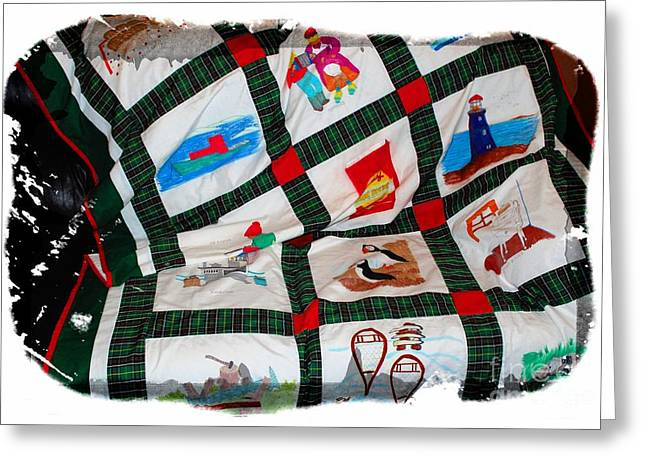 Transportation Tapestries - Textiles Greeting Cards - Quilt Newfoundland Tartan Red Posts Greeting Card by Barbara Griffin