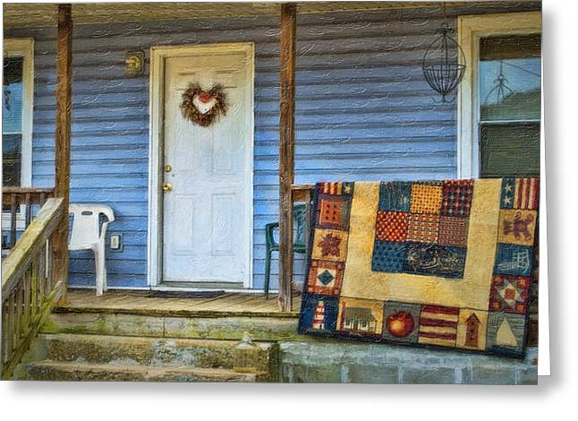 Front Porches Greeting Cards - Quilt On The Front Porch Greeting Card by Kathy Jennings