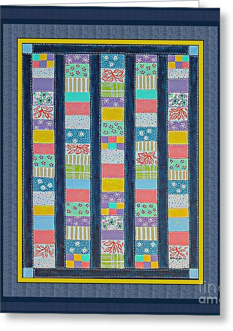 Barbara Griffin Quilts Greeting Cards - Quilt Painting with Digital Border 2 Greeting Card by Barbara Griffin