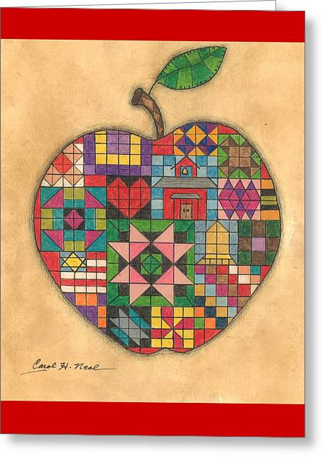 Quilted Apple Greeting Card by Carol Neal
