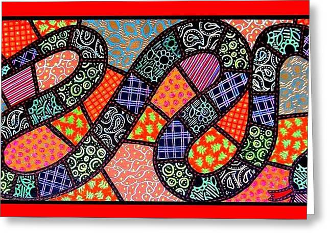Paisley Blue Fabric Greeting Cards - Quilted Black Snake Greeting Card by Jim Harris