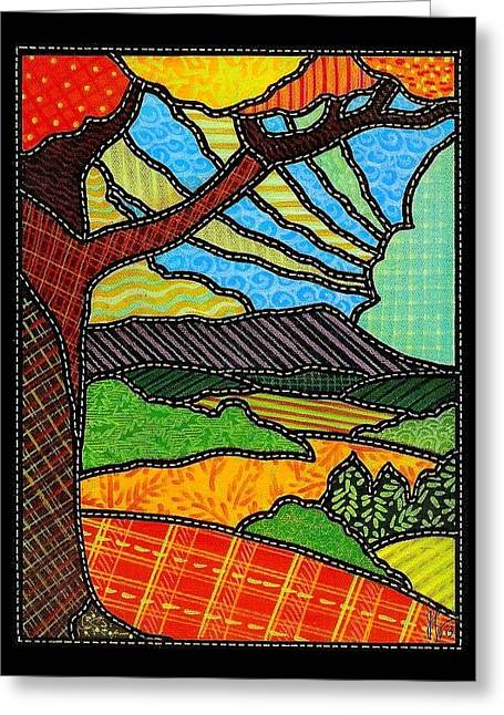 Quilted Bright Harvest Greeting Card by Jim Harris