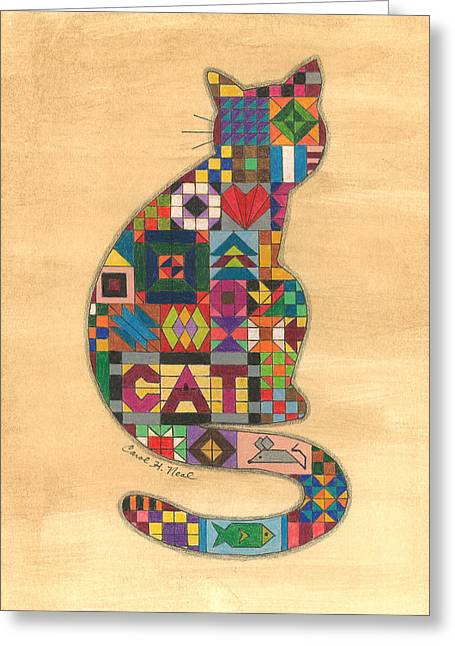Quilted Cat Greeting Card by Carol Neal