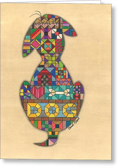 Puppies Drawings Greeting Cards - Quilted Dog Greeting Card by Carol Neal