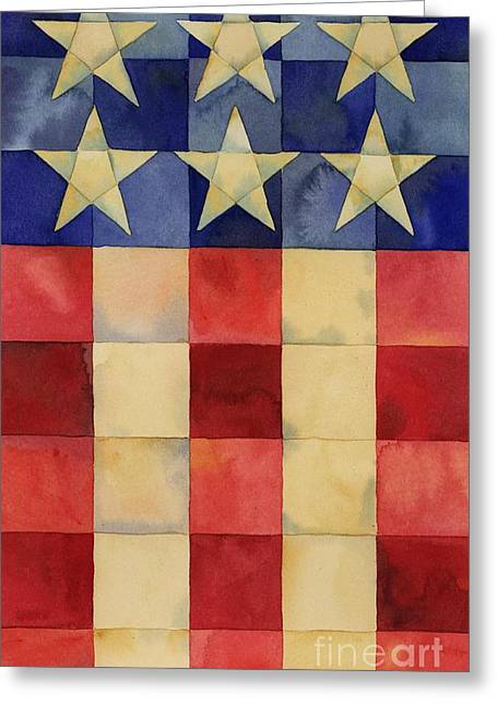 Patriotic Flag Greeting Cards - Quilted Flag Vertical Greeting Card by Paul Brent