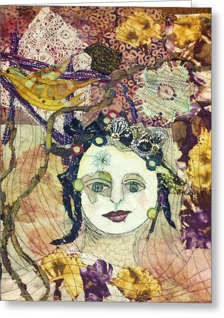 Pretty Quilts Tapestries - Textiles Greeting Cards - Quilted Girl Greeting Card by Kristina Thompson