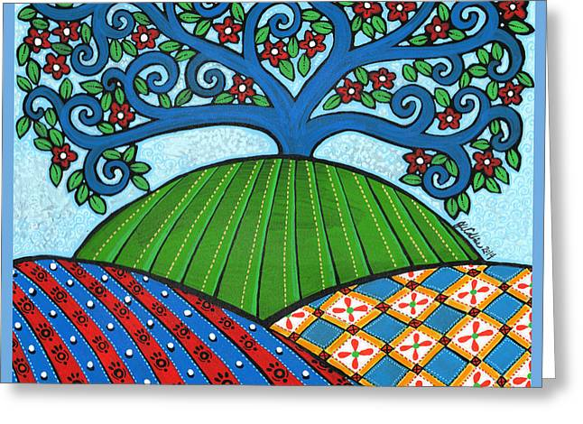 Quaker Paintings Greeting Cards - Quilted Hills Blue Tree Greeting Card by Jay Winter Collins