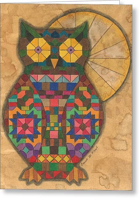 Wild Life Drawings Greeting Cards - Quilted Owl Greeting Card by Carol Neal