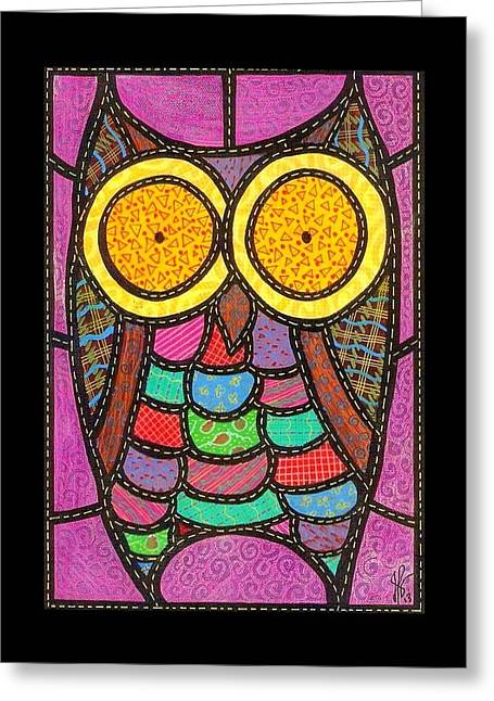 Jim Harris Greeting Cards - Quilted Owl Greeting Card by Jim Harris