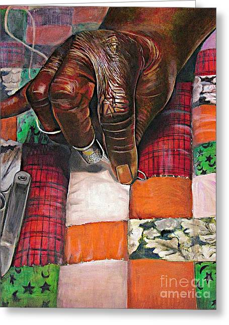 African American Artist Greeting Cards - Quilting II Greeting Card by Curtis James