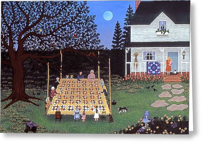 Folk Art Greeting Cards - Quilting in the Country Greeting Card by Linda Mears
