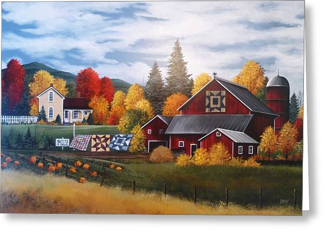 Barn Quilts Greeting Cards - Quilts and Foliage in VT Greeting Card by Debbi Wetzel