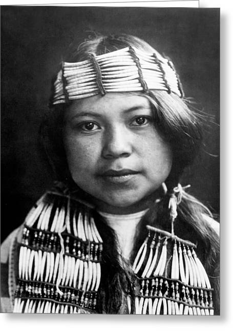 Braids Greeting Cards - Quinault Indian girl circa 1913 Greeting Card by Aged Pixel