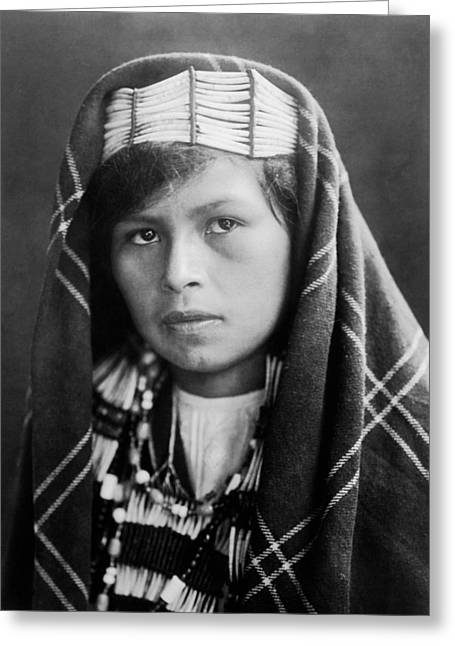 Blanket Photographs Greeting Cards - Quinault Indian woman circa 1913 Greeting Card by Aged Pixel