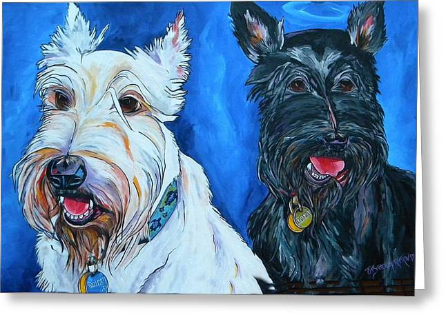 Scottie; Dog Greeting Cards - Quincy And Kramer Greeting Card by Patti Schermerhorn