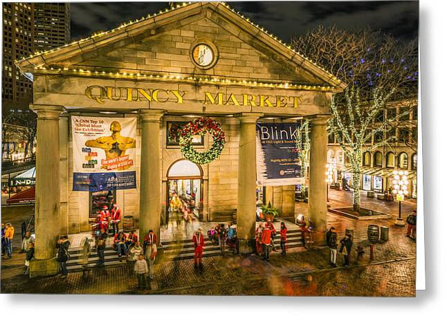 Boston Ma Greeting Cards - Quincy Market at Christmas Greeting Card by Ludmila Nayvelt