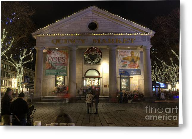 Historic England Greeting Cards - Quincy Market at Night Greeting Card by Juli Scalzi