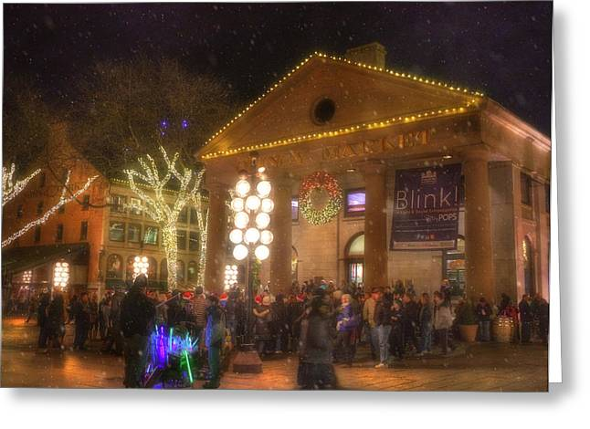 Boston Ma Photographs Greeting Cards - Quincy Market at Night with Snow - Boston Greeting Card by Joann Vitali