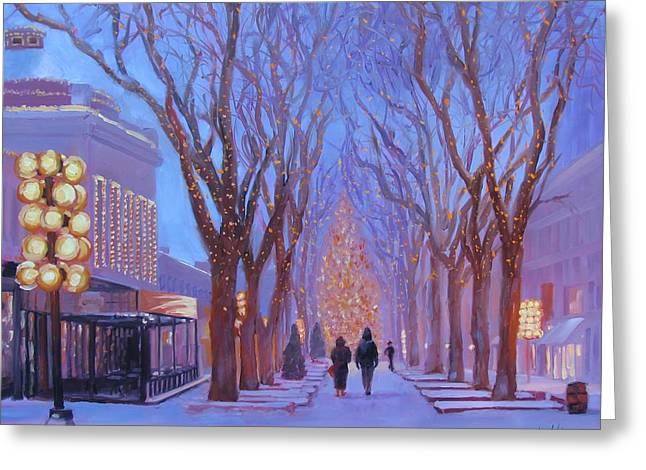 New England Lights Greeting Cards - Quincy Market at Twilight Greeting Card by Laura Lee Zanghetti