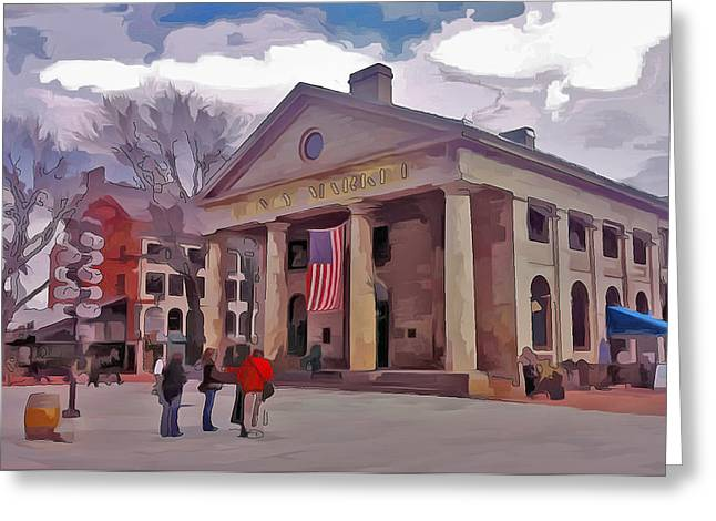 Live Art Greeting Cards - Quincy Market Boston Greeting Card by Yury Malkov