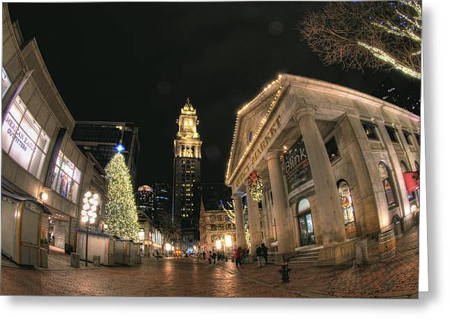 Faneuil Hall Greeting Cards - Quincy Market Celebration Greeting Card by Joann Vitali