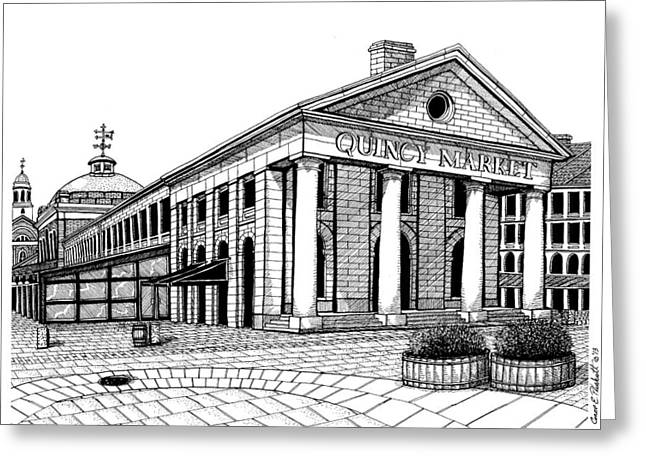 Conor Drawings Greeting Cards - Quincy Market Greeting Card by Conor Plunkett