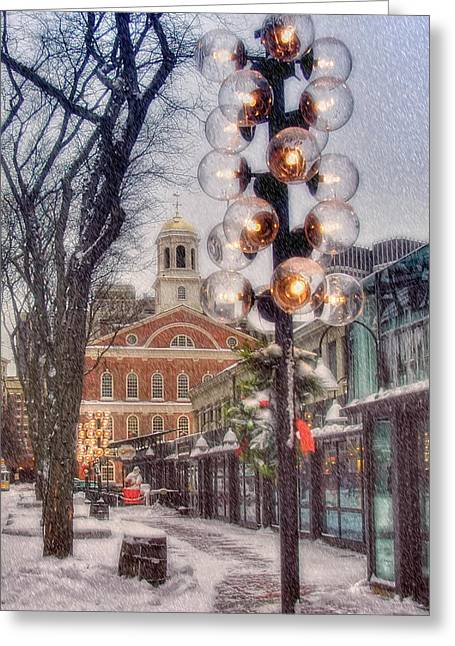 Faneuil Hall Greeting Cards - Quincy Market Flurries Greeting Card by Joann Vitali