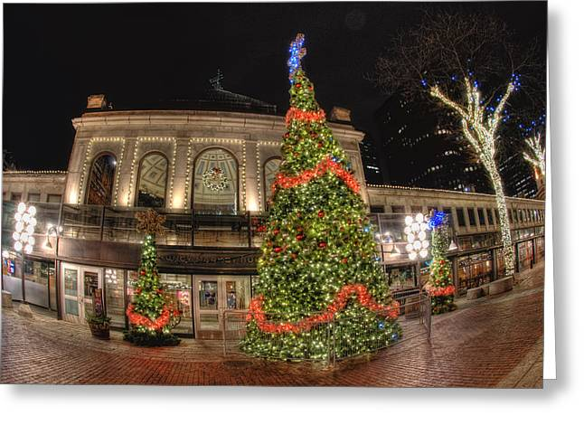 Boston Skyline Greeting Cards - Quincy Market Holiday Lights Greeting Card by Joann Vitali