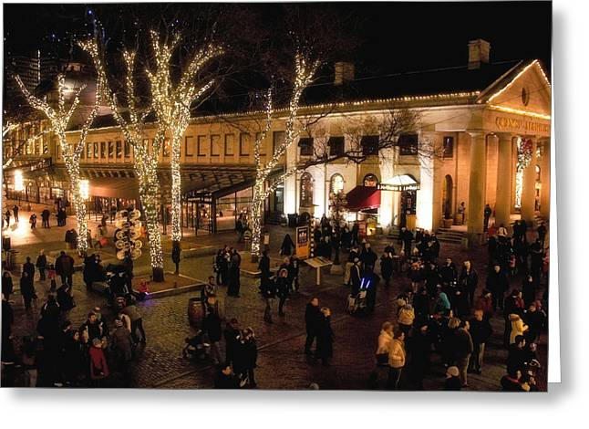 Sightsee Greeting Cards - Quincy Market Hustle Greeting Card by Joann Vitali